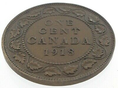 1918 Canada One 1 Cent Large Penny Copper Canadian Circulated George V Coin M610