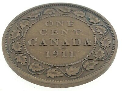 1911 Canada One 1 Cent Large Penny Copper Canadian Circulated George V Coin M611