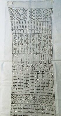 PERFECT Assuit ANTIQUE Assiut Shawl WHITE Silver Art Deco Egyptian Tulle 16x70