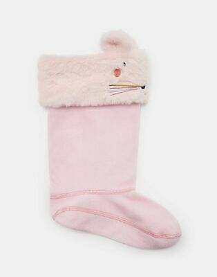Joules Girls Smile Welly Liners - PALE PINK MOUSE