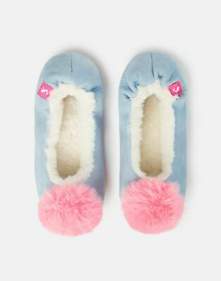 Joules Girls Pombury Ballet Slippers in ICE BLUE