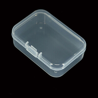 2x Clear Small Plastic Storage Box Boxes With Lids Office Stackable Rectangular