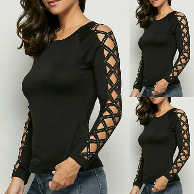 Womens Gothic Black T-shirt Hollow Sleeve Iron Drill Bead Punk Casual Top Blouse