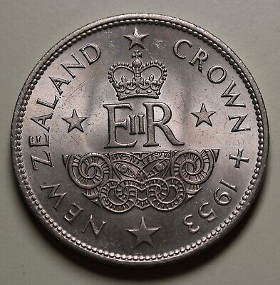 1953 New Zealand NZ QEII Coronation Crown KM# 30 UNC Coin