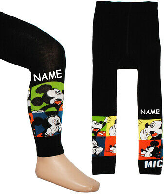 """Knitted Leggings - """" Disney Mickey Mouse """" - Incl. Name - Size 1 to 9 Years - G"""
