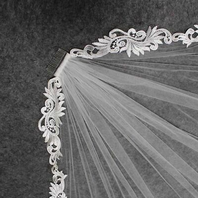 Short Wedding Lace Veil Tulle Fingertip Length Shroud One-Layer Hair Accessories