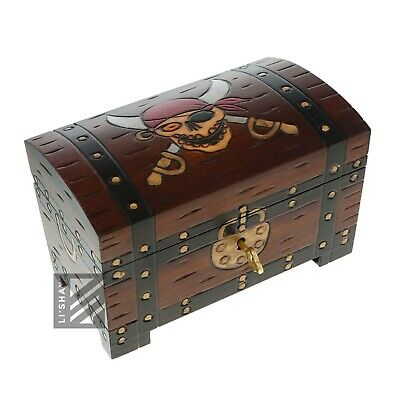 Treasure Chest Wooden Trinket Jewelry Box w/Pirate & Swords Treasure Chest