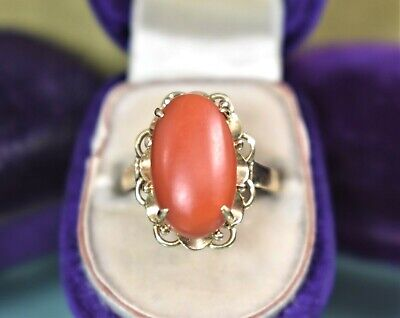 Estate antique Edwardian 14k yellow gold red coral cabochon ring sz 5