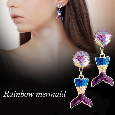 Girls Glitter Mermaid Fish Tail Scale Ear Stud Enamel Drop Earring Charm Jewelry