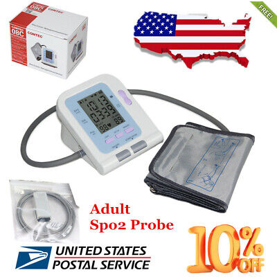 USA FDA digital Electronic LCD Blood pressure monitor NIBP spo2 probe adult cuff