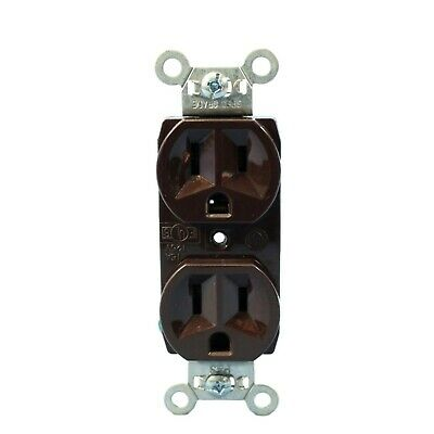 3-PK Lot PASS & SEYMOUR NEW 2 Pole 3 Wire 5252 BROWN 15A 125V Duplex RECEPTACLE