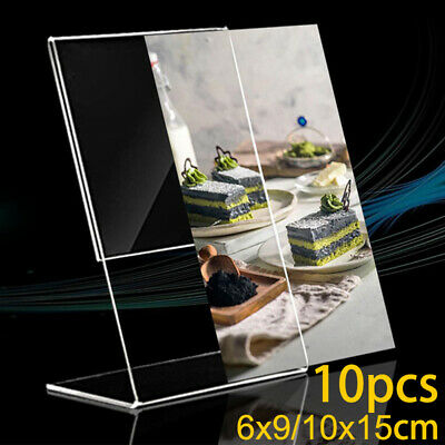 10pcs Acrylic Clear Sign Display Stand Table Desktop Office Business Card Holder