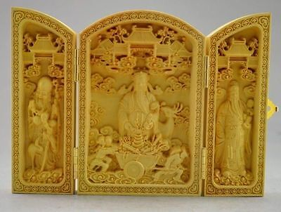 Decorated 100% Boxwood Highly Difficulty Carved God Of Wealth Statue Folding Box