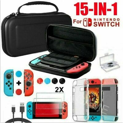 For Nintendo Switch Hard Case Bag+Shell Cover+Charge Cable+Protector Accessories