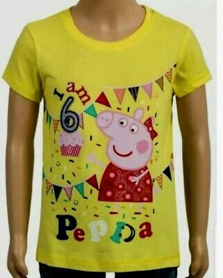 New Girls Peppa Pig Birthday T-Shirt  Party Top Badge I Am 1 2 3 4 5 6 Years