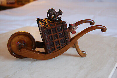 Swiss Black Forest Inkwell, Carved Olive Wood Cat & Rooster Push Cart, 1880