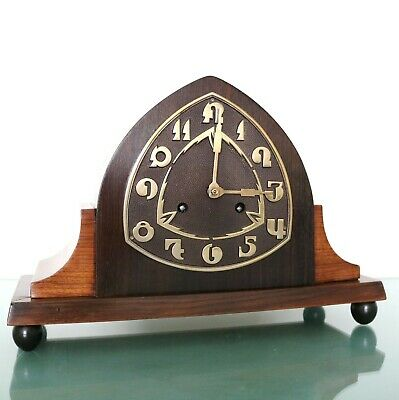 Antique JUNGHANS Mantel Clock REAL ART DECO Gong BRONZE DIAL! Germany RARE Shelf