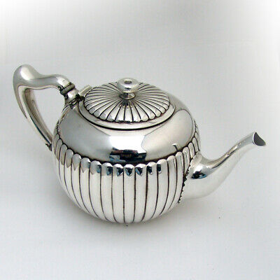 Fluted Bachelors Teapot Whiting Sterling Silver 1885