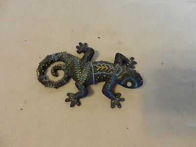 Small Purple Lizard Gecko Figurine Decorated With Beads Resin