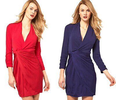 KAREN MILLEN Red or Blue Drape Jersey BNWT £140 Wrap DN026 Dress UK 8 10 12