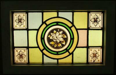 "VICTORIAN ENGLISH LEADED STAINED GLASS WINDOW Hand Painted Floral 18.5"" x 12"""