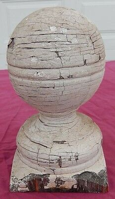 "Nice Antique 19th C Chippy White Distinctive Wooden Cannonball Finial - 7"" Tall"