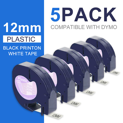 5 PK 16952 12267 Replace DYMO LetraTag Refills Clear Transparent Label Tape 12mm
