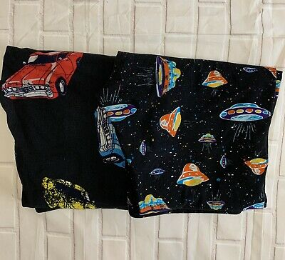 Lularoe TC Leggings 2 Pair Cars Spaceships Multi Color Casual Yoga Modest Worn