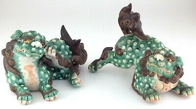 Hand Painted Oriental Bisque porcelain Chinese Foo Dog Figure M650
