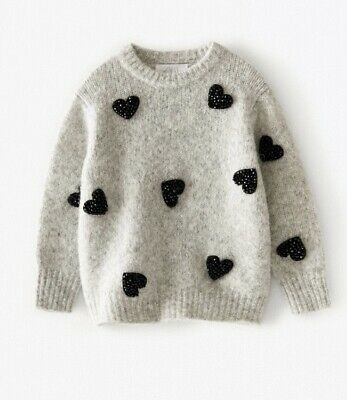 Zara Girls Pearl Knit Heart Sweater Age 6 Years Current Stock