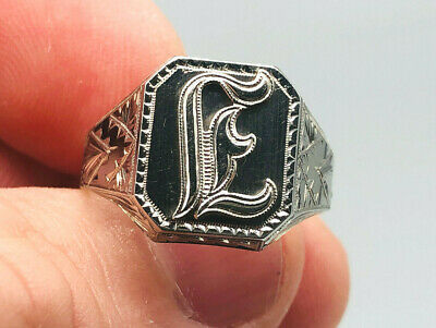 ANTIQUE MENS 10KT White Gold OB Ostby Barton Initial E Ring Size 11