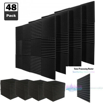 """48 Pack Acoustic Foam Wedge Panels Soundproofing Studio Wall Tiles 1""""X 12"""" X 12"""""""