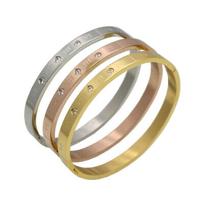 women gold plated stainless steel roman numerals bracelet bangle with zircons
