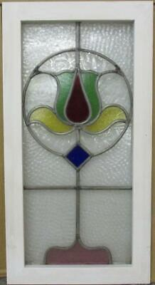 "MIDSIZE OLD ENGLISH LEADED STAINED GLASS WINDOW Colorful Abstract 14.25"" x 27.5"""