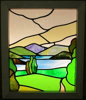 "MIDSIZE OLD ENGLISH LEADED STAINED GLASS WINDOW Stunning Landscape 20"" x 24"""