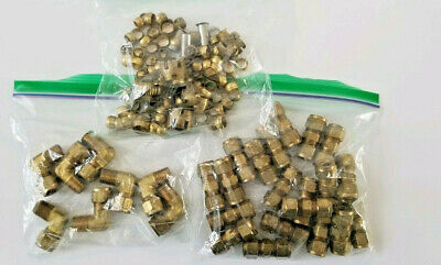 """Assortment of New 3/8"""" Brass Compression Fittings and Sleeves"""