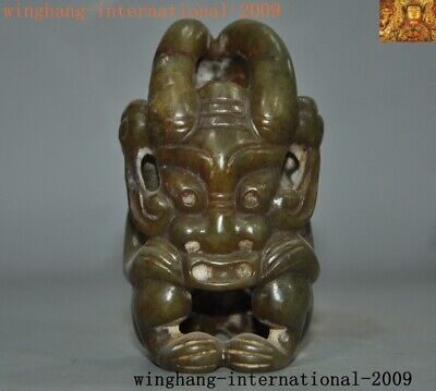 """3""""Rare Chinese Hongshan Culture Hetian Old jade carved beast face Sun God statue"""