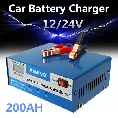 12V/24V Car Battery Charger Jump Starter Motorcycle Intelligent Pulse Repair 10A