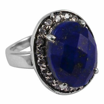 Faceted-Lapis Lazuli Solid 925 Sterling Silver Ring  Jewelry Size-7 AR-8326