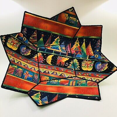 LAUREL BURCH COLORFUL Cat Christmas Multicolor Soft Sided Fabric TRAY