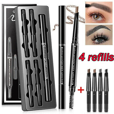 Beauty Eyebrow Pen with Brush Double Head Automatic Rotate Triangle Brow Pencil
