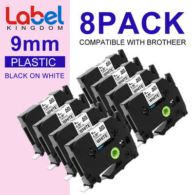 8 PK TZe-221 TZ221 P-Touch Label Tape Cassette Compatible for Brother 9mm 8m