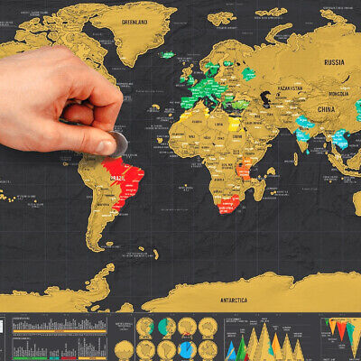 Scratch Off World Map Poster Interactive Travel Atlas Decor Large Deluxe Gifts