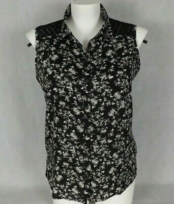 Womens Jeans West Size 16 Top Black White Floral Lace Yoke Sleeveless Casual