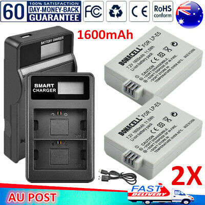2x LP-E5 Battery / LCD Charger for Canon EOS 450D 500D 1000D Kiss X3 X2 F Camera