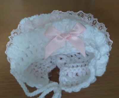 Premature  Baby Girl White Crochet Bonnet With pink frill And pink bow