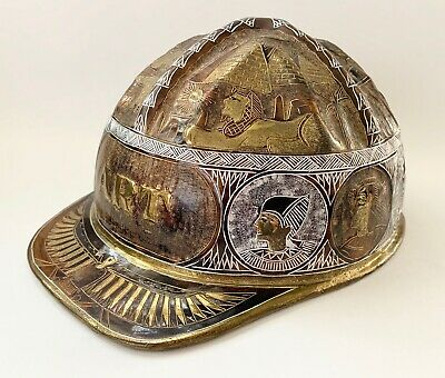 VTG Egyptian Hand Engraved Brass Hard Hat Archaeology Egyptology Egypt Sphinx