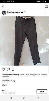 Taylor And Wright Grey And Black Houndstooth Trousers W.30 Slim Fit