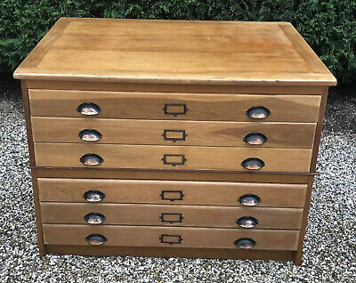 Rare  Arts & Crafts  Light Oak 6 Drawer Plan/Artists Chest Delivery Available