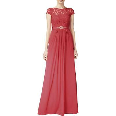 Adrianna Papell Womens Pink Lace Overlay Embellished Evening Dress 2 BHFO 6136